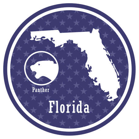 florida state map with panther Illustration