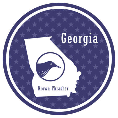 georgia state map with brown thrasher 向量圖像