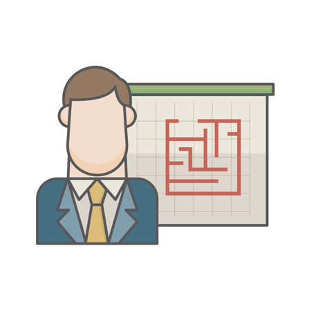 businessman and maze Stock Illustratie