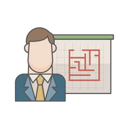 businessman and maze 向量圖像