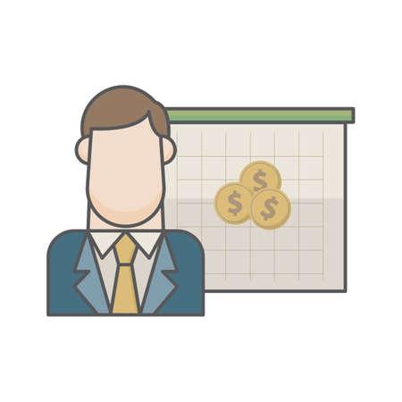 businessman and dollar coins Ilustração