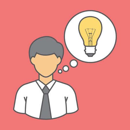 man and idea bulb