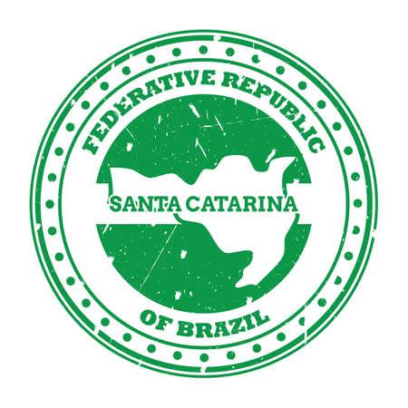 santa catarina map stamp