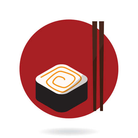 sushi with chopsticks Stock Vector - 81533451