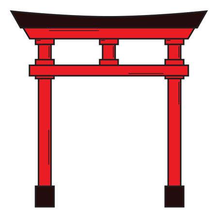 fushimi inari shrine entrance Illustration