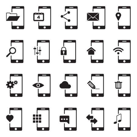mobile app icon set Illusztráció