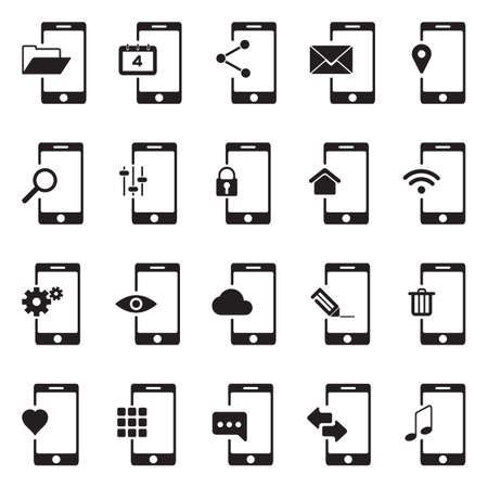 mobile app icon set Illustration