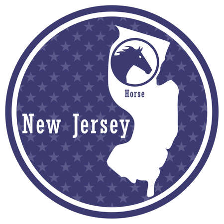 new jersey state map with horse