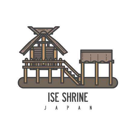 An ise shrine illustration. Illustration