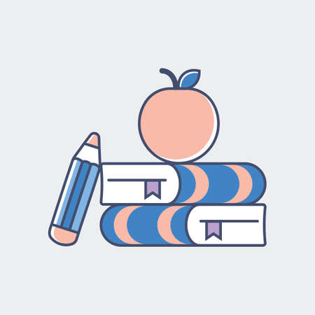 A book with pencil and apple illustration.