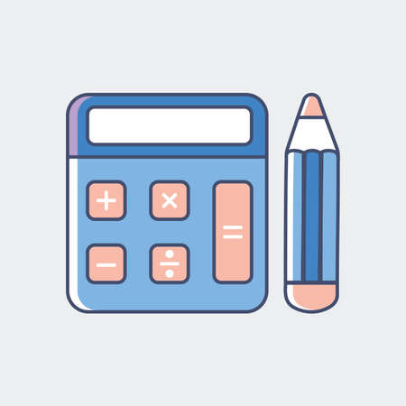 A calculator with pencil illustration.