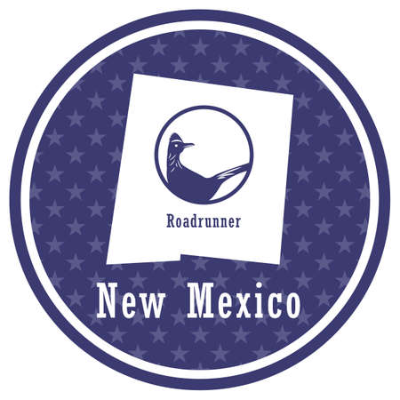 new mexico state map with roadrunner Foto de archivo - 106667732