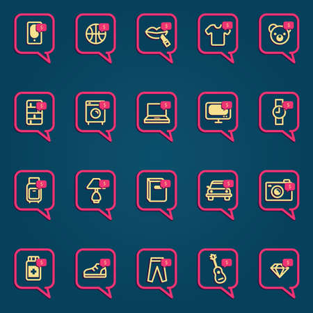 speech bubble with shopping icons Illustration