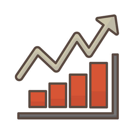 Staafdiagram met pijl omhoog Stockfoto - 81534797