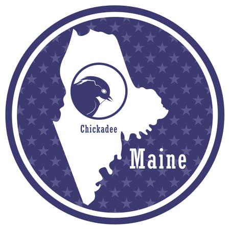 maine state map with chickadee