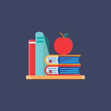 Books and apple on shelf
