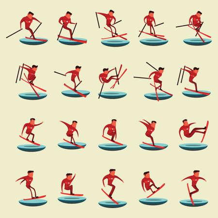 スキーやスノーボードの男のコレクション  イラスト・ベクター素材