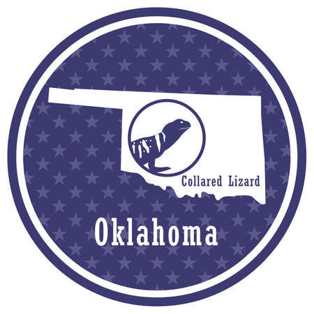 oklahoma state map with collared lizard