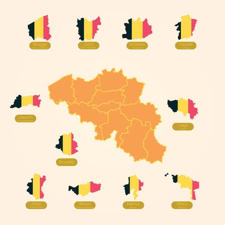 ベルギーの州のマップのセット