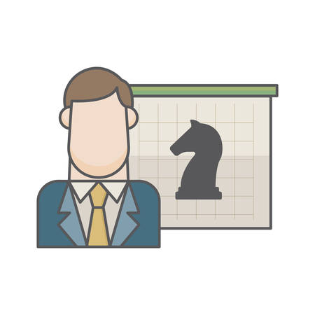 businessman and chess piece Ilustrace