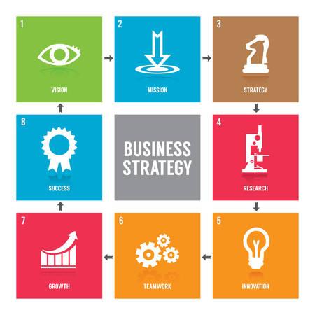 비즈니스 전략 아이콘 모음 스톡 콘텐츠 - 81589247