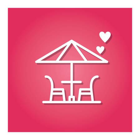 테이블과 의자 우산