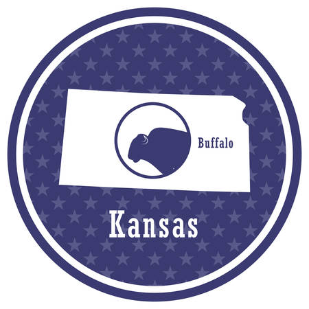 kansas state map with buffalo 일러스트