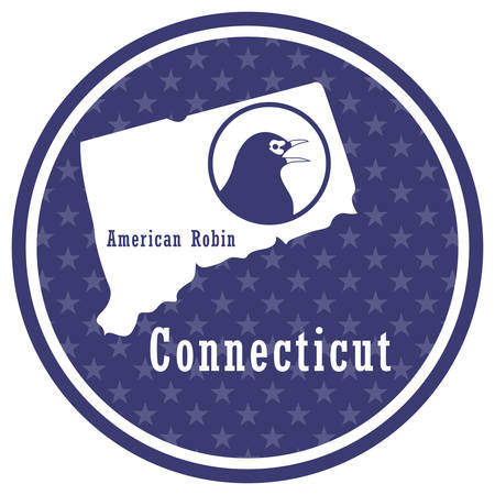 connecticut state map with american robin Illustration
