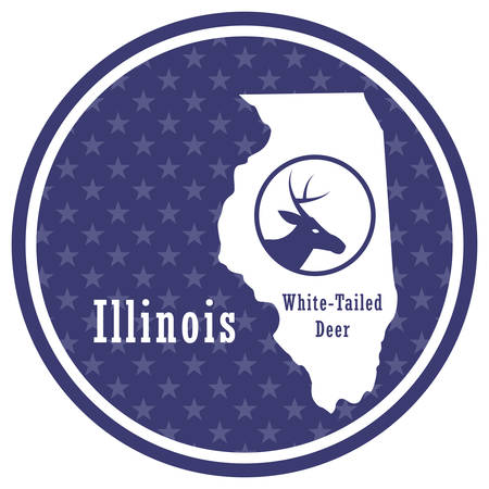 illinois state map with white-tailed deer