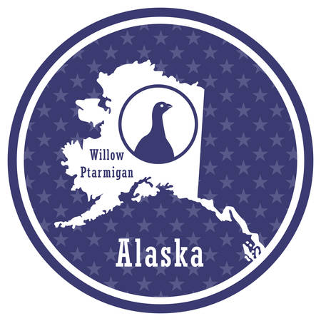 alaska state map with willow ptarmigan