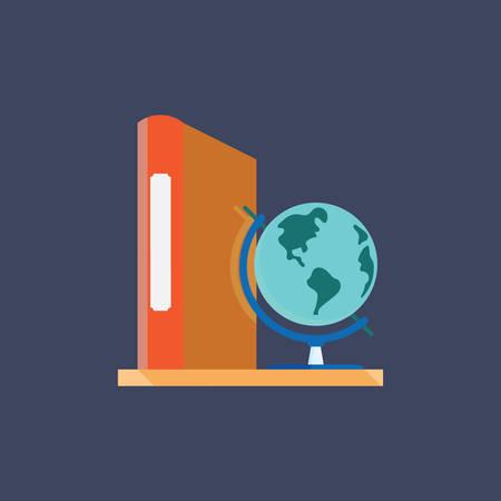 A book with desk globe illustration. Иллюстрация