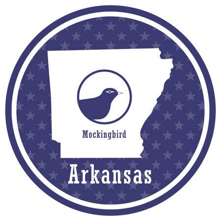 arkansas state map with mockingbird Illustration