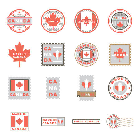 collection of canada labels and postal stamps