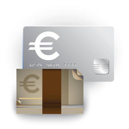 現金カードや通貨のノート  イラスト・ベクター素材