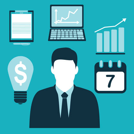 businessman and business icons Ilustração