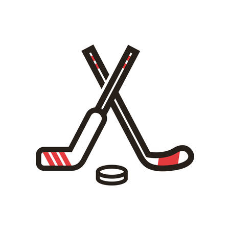 puck: A hockey sticks and puck illustration. Illustration