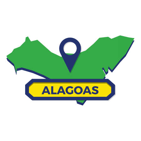 alagoas map with map pin Ilustrace