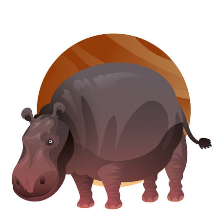 A hippopotamus illustration. Çizim