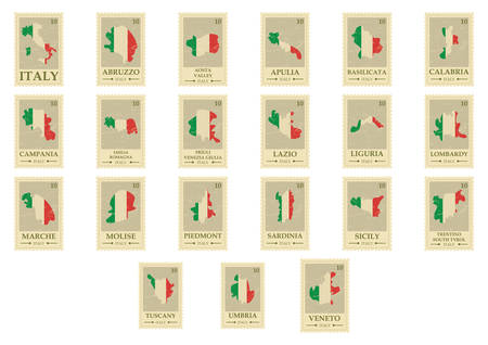 set of italian cities map postal stamps Illustration