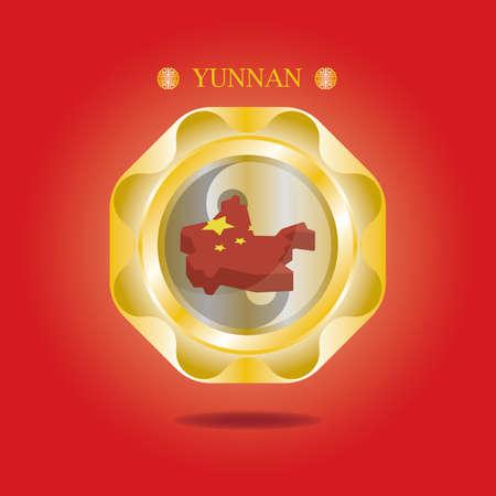 mappa dello yunnan Vettoriali