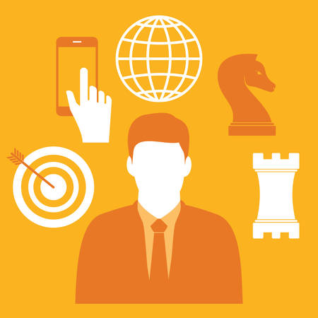 businessman and business icons Illustration