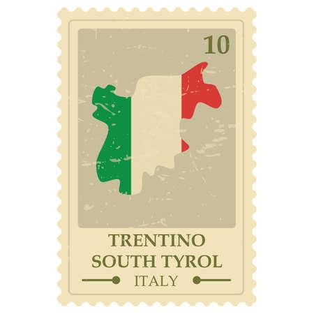trentino south tyrol map postage stamp Illustration