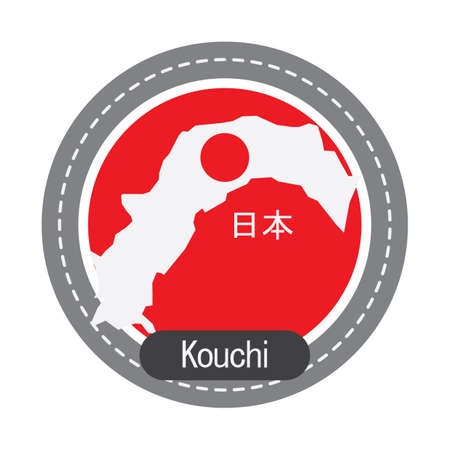 高知県地図  イラスト・ベクター素材