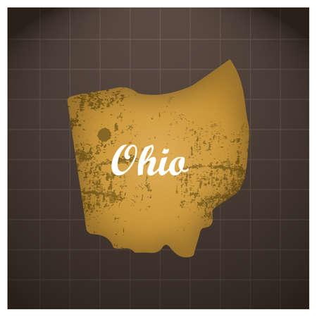 オハイオ州の地図  イラスト・ベクター素材
