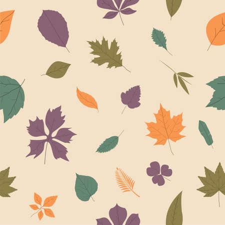 seamless leaves pattern background Ilustração