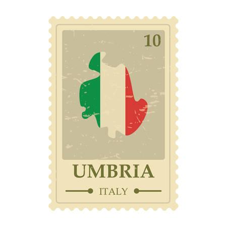 umbria map postage stamp