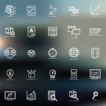 set of business strategy icons Illustration