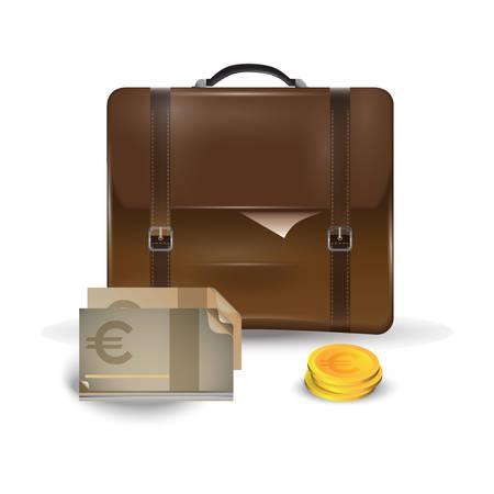 Schultasche mit Währung Vektorgrafik