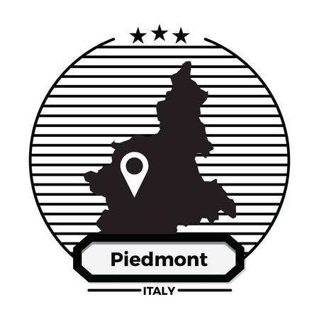 piedmont map label Ilustrace