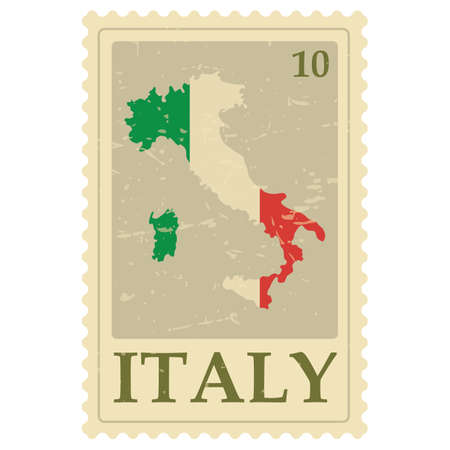 italy map postage stamp